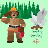Affiche plate de vecteur de Smokey Bear Day Image stock