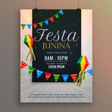 Affiche pour la conception de salutation de vacances de junina de festa illustration stock