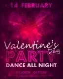 Affiche pour la partie de jour de valentines, calibre de danse avec les coeurs roses de l'éclat, lumières et amour d'inscription, illustration libre de droits