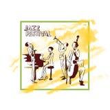 Affiche pour le concert de jazz Le jazz-band joue sur le fond de la tache jaune abstraite d'aquarelle Illustration de vecteur Photos stock