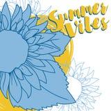 Affiche pour le vibraphone d'été avec le tournesol dans le style de croquis Photo stock