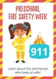 Affiche préscolaire de semaine de sécurité incendie illustration stock