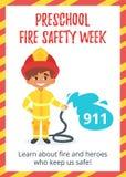 Affiche préscolaire de semaine de sécurité incendie illustration libre de droits