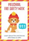 Affiche préscolaire de semaine de sécurité incendie illustration de vecteur