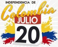 Affiche promotionnelle avec la date de rappel du Jour de la Déclaration d'Indépendance colombien, illustration de vecteur Photo stock