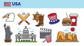 Affiche promotionnelle de destination de voyage des Etats-Unis avec des symboles de pays illustration stock