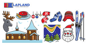 Affiche promotionnelle de destination de voyage de la Laponie avec des symboles de Noël Photo stock