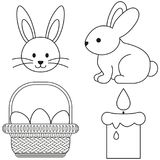 Affiche réglée d'icône de panier d'oeufs de bougie de lapin d'icône noire et blanche de Pâques de schéma Photos libres de droits