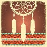 Affiche rêveuse de receveur avec l'ornement ethnique Photo libre de droits
