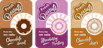 AFFICHE 19 Reeks affiches met donuts vector illustratie