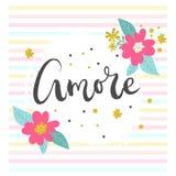 Affiche romantique d'Amore Image libre de droits