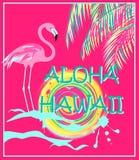 Affiche rose avec le lettrage d'Aloha Hawaii, les palmettes au néon, le flamant et le soleil Photos libres de droits