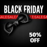 Affiche rouge de boutique de la publicité de vecteur d'arc de promo de mode de remise de vente de Black Friday Image stock