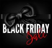 Affiche rouge de boutique de la publicité de vecteur d'arc de promo de mode de remise de vente de Black Friday Photographie stock libre de droits