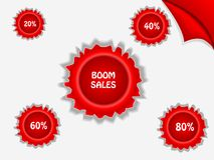 Affiche rouge de vente - ventes de boom Photo stock
