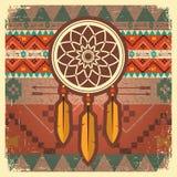 Affiche rêveuse de receveur de vecteur avec l'ornement ethnique Image stock