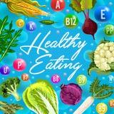 Affiche saine de consommation avec des légumes de vitamine illustration stock