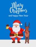 Affiche Santa Deer de bonne année de Joyeux Noël Photos stock