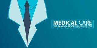 Affiche, soins médicaux Robe médicale Illustration plate de vecteur Images libres de droits
