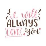 Affiche tirée par la main avec des éléments d'amour Calligraphie de brosse Jour de valentines de Happe Illustration de vecteur Image stock