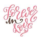 Affiche tirée par la main avec des éléments d'amour Calligraphie de brosse Jour de valentines de Happe Illustration de vecteur Photo stock