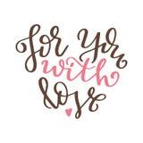 Affiche tirée par la main avec des éléments d'amour Calligraphie de brosse Jour de valentines de Happe Illustration de vecteur Photos stock
