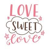 Affiche tirée par la main avec des éléments d'amour Calligraphie de brosse Jour de valentines de Happe Illustration de vecteur Image libre de droits