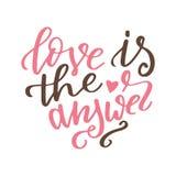 Affiche tirée par la main avec des éléments d'amour Calligraphie de brosse Jour de valentines de Happe Illustration de vecteur Photo libre de droits