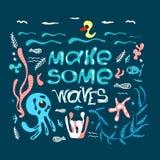 Affiche tirée par la main avec l'inscription citation-pour faire différentes de mer créatures de vagues et Élément de conception  illustration de vecteur
