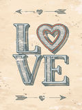 Affiche tirée par la main d'amour Photo stock