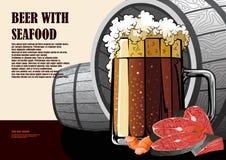 Affiche tirée par la main de bière et de fruits de mer Photographie stock libre de droits