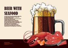 Affiche tirée par la main de bière et de fruits de mer Image stock