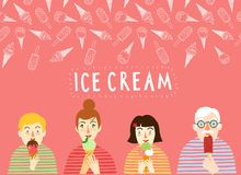 Affiche tirée par la main de crème glacée avec des personnes Photos stock