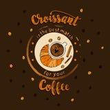 Affiche tirée par la main de lettrage de CAFÉ Le croissant est un meilleur match pour votre café Photographie stock libre de droits
