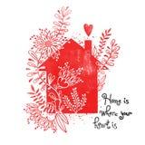 Affiche tirée par la main de typographie Dirigez l'illustration avec la silhouette noire de maison, éléments floraux et la maison illustration libre de droits