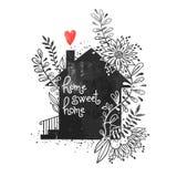 Affiche tirée par la main de typographie Dirigez l'illustration avec la silhouette noire de maison, la maison florale d'éléments, illustration libre de droits