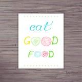 Affiche tirée par la main de vecteur avec le label - mangez de la bonne nourriture avec des lettres d'une tranche de légumes illustration de vecteur