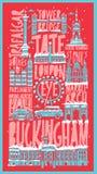 Affiche tirée par la main touristique de ville de Londres de vecteur illustration stock