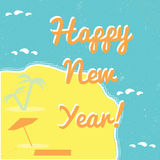Affiche tropicale de bonne année Photos libres de droits
