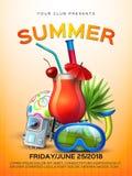 Affiche tropicale de cocktail de club d'été de vecteur Image stock