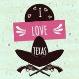 Affiche typographique colorée juteuse avec les attributs de l'état du chapeau et des bras de Texas America sur un fond clair avec Photos stock