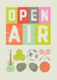 Affiche typographique de grunge de style de vintage de festival de musique de sport d'air ouvert Rétro illustration de vecteur Images libres de droits