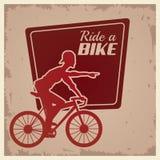 Affiche uitstekende rit een silhouet van de fietsfietser stock illustratie