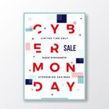 Affiche van de de Typografie Zwitserse Stijl van de Cybermaandag de Moderne Meetkunde Decoratieve Elementen en Zachte Schaduw stock illustratie