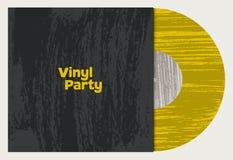 Affiche van de grungestijl van de muziekpartij de typografische uitstekende Vinylschijf in koker Retro vectorillustratie stock illustratie