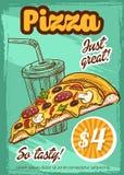 Affiche van de het menu de vectorschets van de snel voedselpizza Royalty-vrije Stock Foto