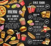 Affiche van de het menu de vectorschets van het snel voedselrestaurant Stock Fotografie