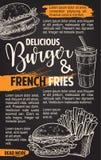 Affiche van de het menuschets van snel voedsel de vectorburgers Royalty-vrije Stock Foto's
