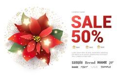 Affiche van de Kerstmis de grote verkoop met poinsettiabloem Royalty-vrije Stock Foto's