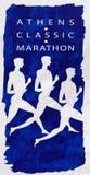 Affiche van de Klassieke Marathon van 27ste Athene Stock Afbeeldingen